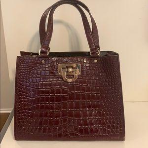 DKNY Brown-Burgundy Crocodile-effect Leather Tote